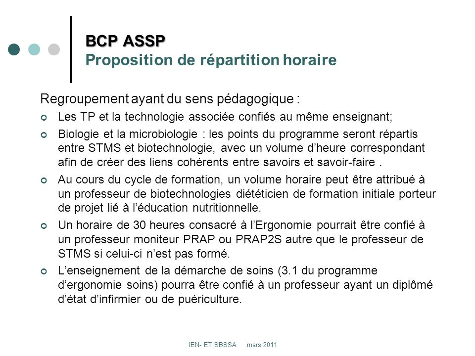 BCP ASSP Proposition de répartition horaire