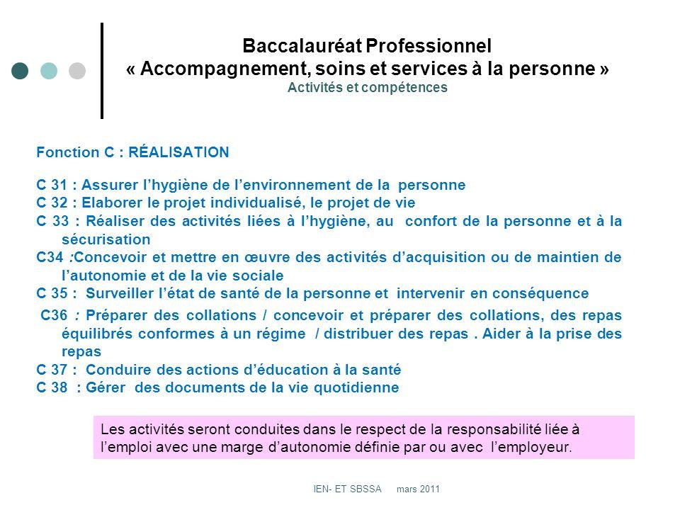 Baccalauréat Professionnel « Accompagnement, soins et services à la personne » Activités et compétences