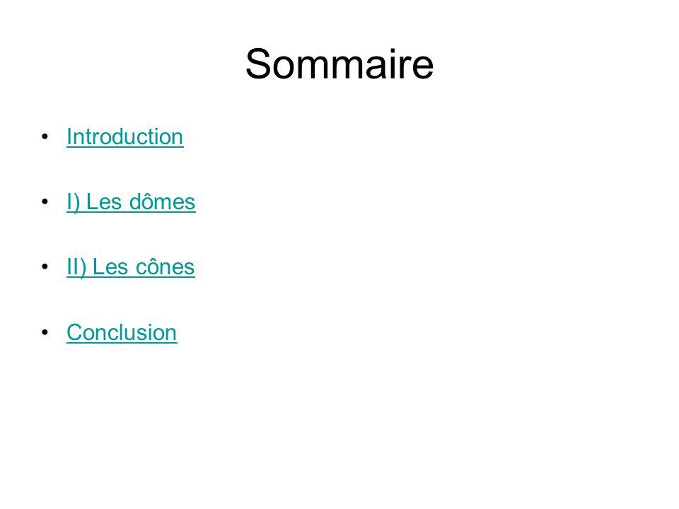 Sommaire Introduction I) Les dômes II) Les cônes Conclusion