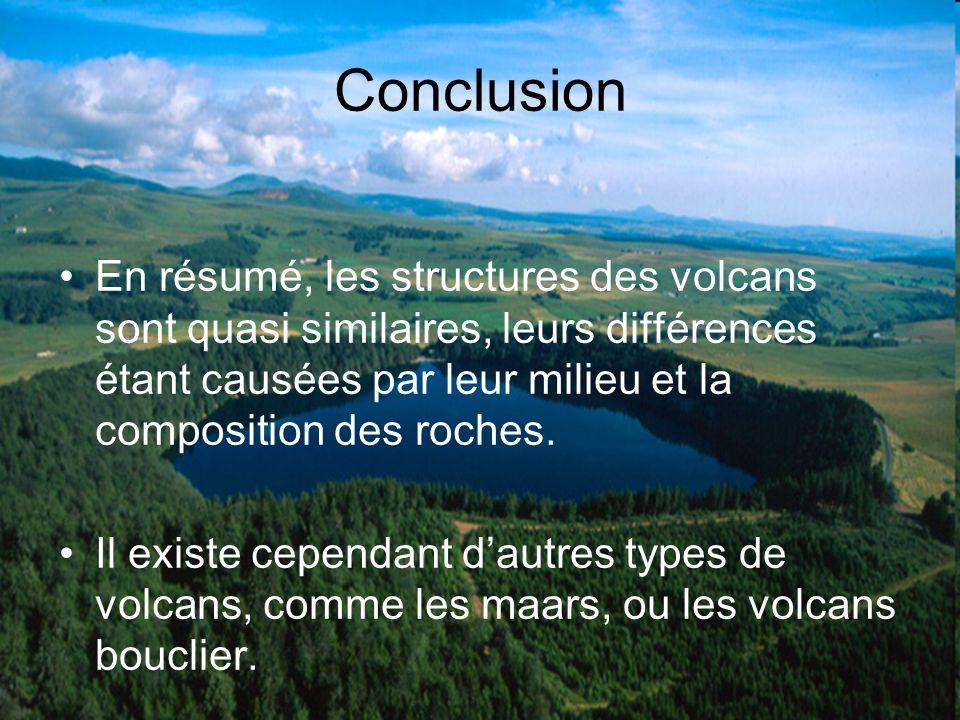 Conclusion En résumé, les structures des volcans sont quasi similaires, leurs différences étant causées par leur milieu et la composition des roches.