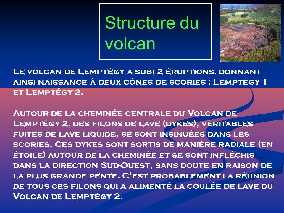 Structure du volcan Le volcan de Lemptégy a subi 2 éruptions, donnant