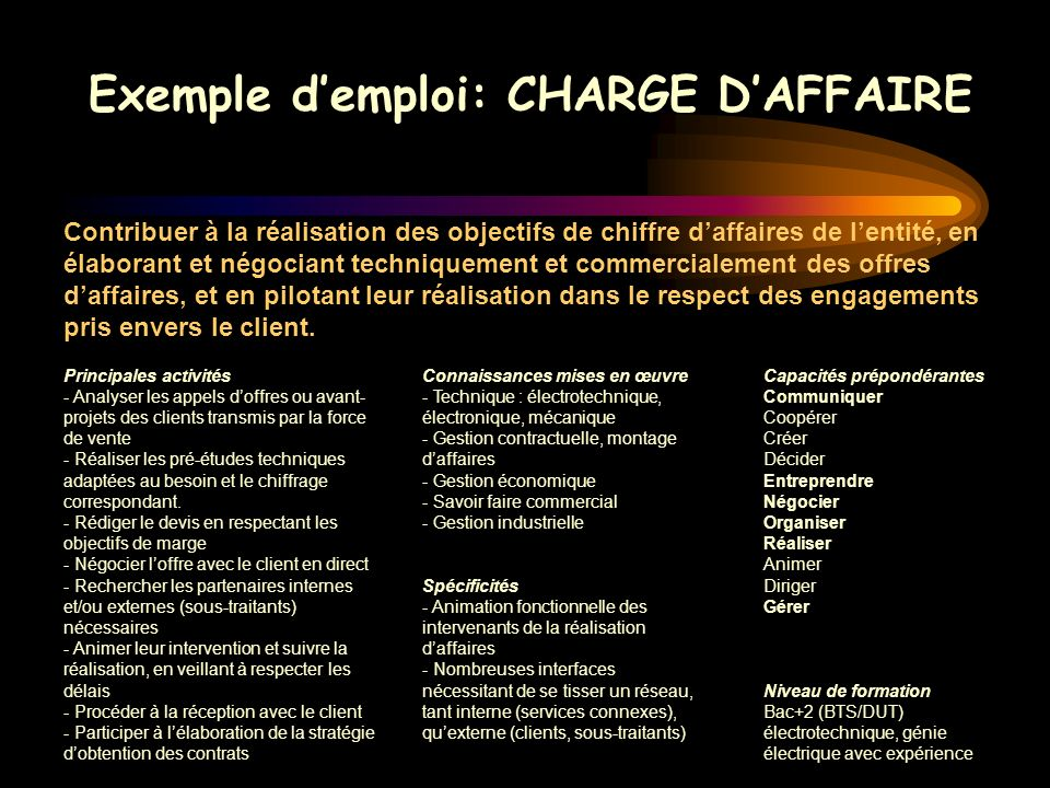 Exemple d'emploi: CHARGE D'AFFAIRE