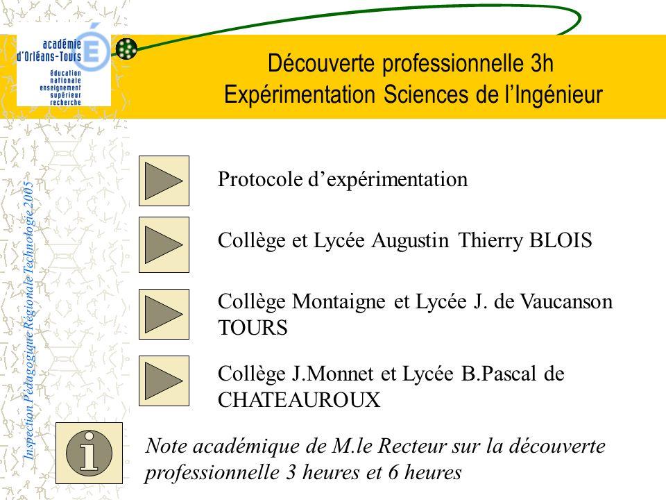 Découverte professionnelle 3h Expérimentation Sciences de l'Ingénieur