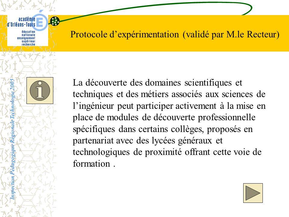 Protocole d'expérimentation (validé par M.le Recteur)