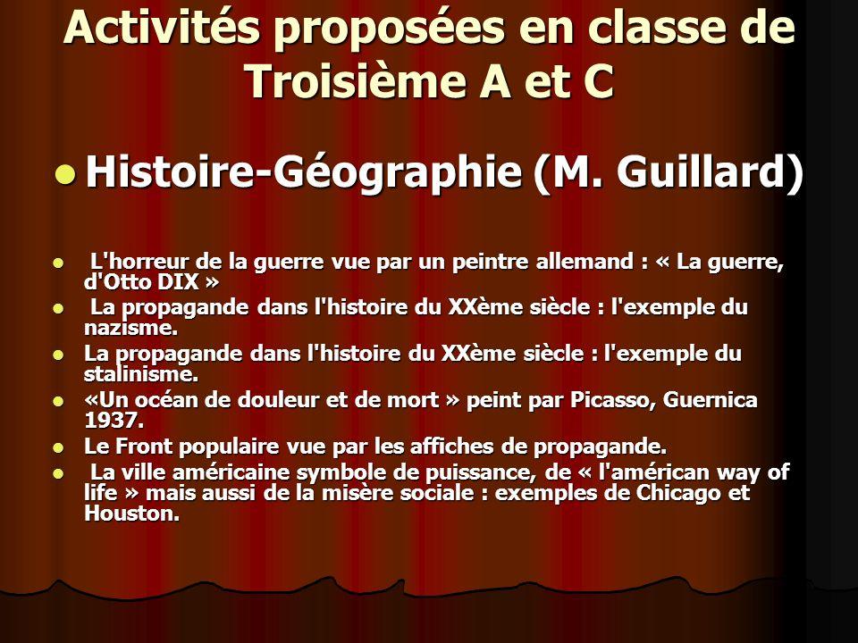 Activités proposées en classe de Troisième A et C