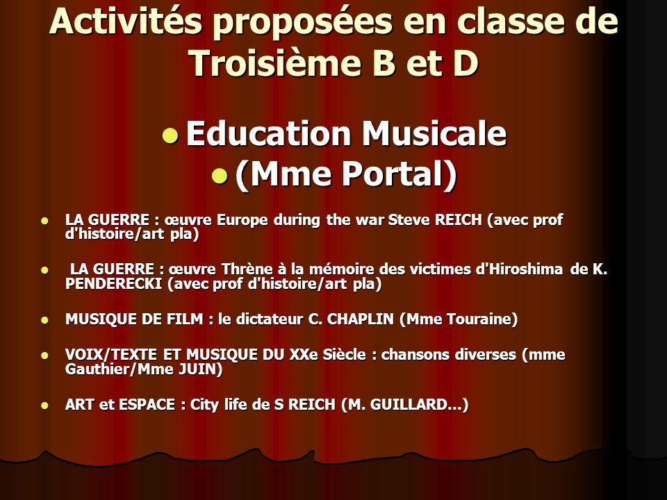 Activités proposées en classe de Troisième B et D