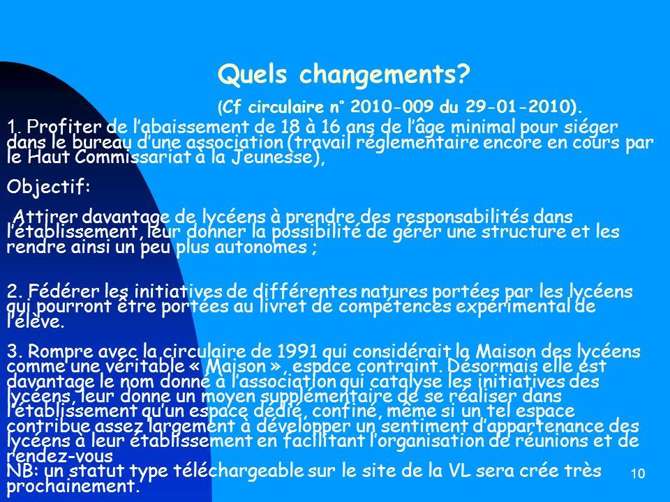 Quels changements (Cf circulaire n° 2010-009 du 29-01-2010).