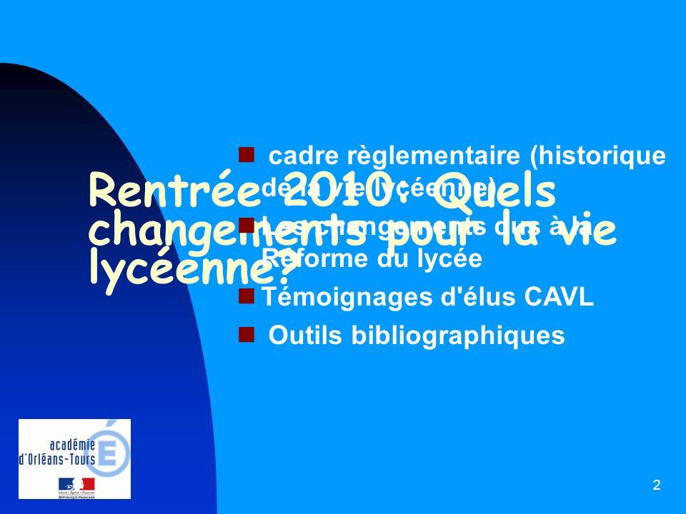 Rentrée 2010: Quels changements pour la vie lycéenne