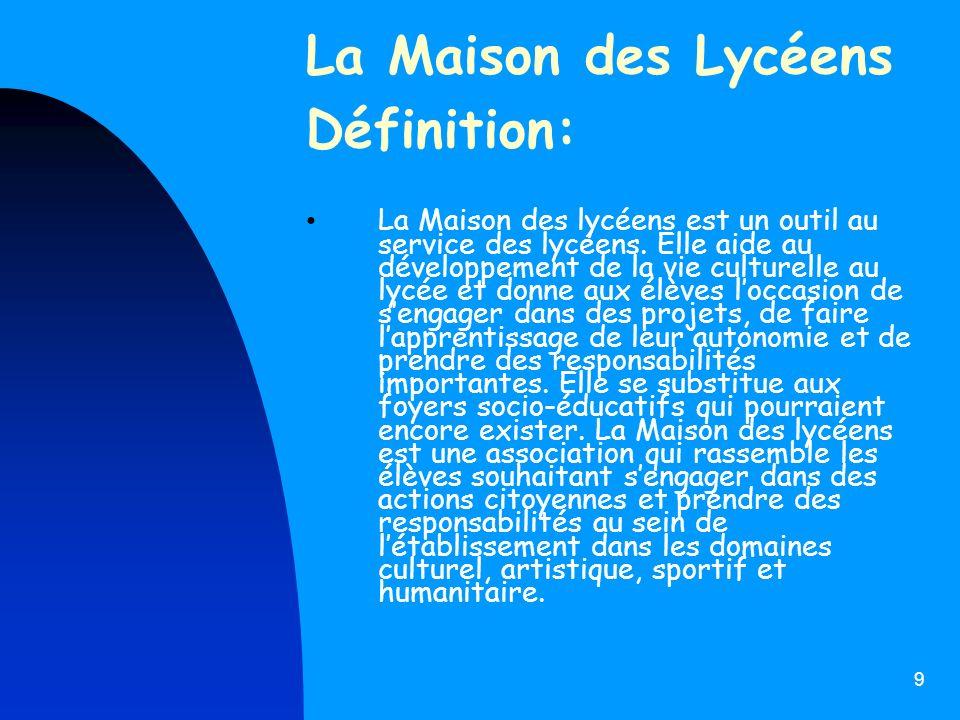 La Maison des Lycéens Définition: