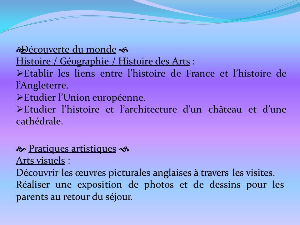 Découverte du monde  Histoire / Géographie / Histoire des Arts : Etablir les liens entre l'histoire de France et l'histoire de l'Angleterre.