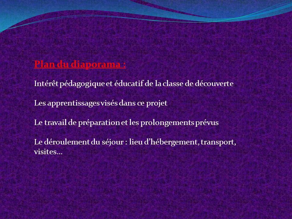 Plan du diaporama : Intérêt pédagogique et éducatif de la classe de découverte. Les apprentissages visés dans ce projet.
