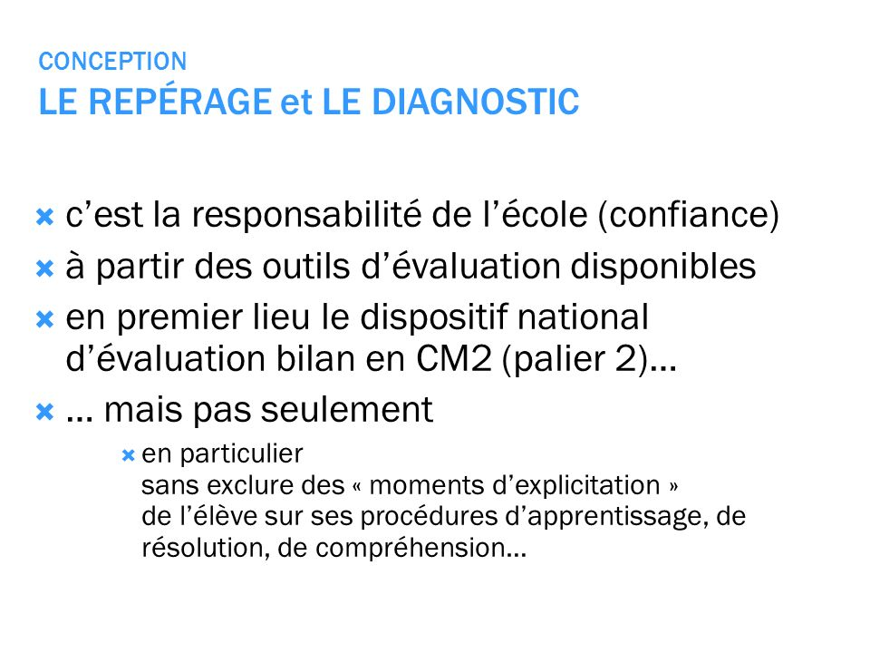 CONCEPTION LE REPÉRAGE et LE DIAGNOSTIC