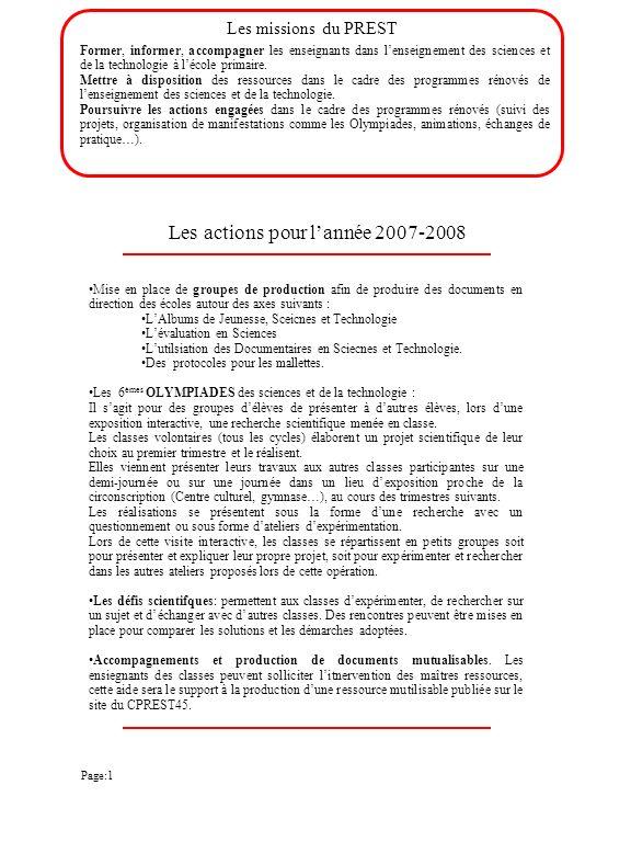 Les actions pour l'année 2007-2008