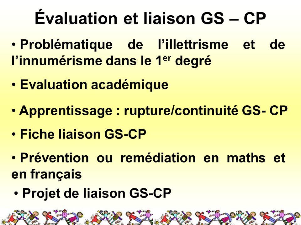 Évaluation et liaison GS – CP