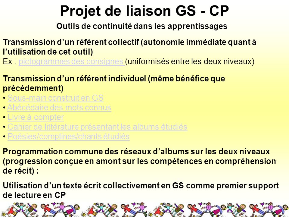 Projet de liaison GS - CP