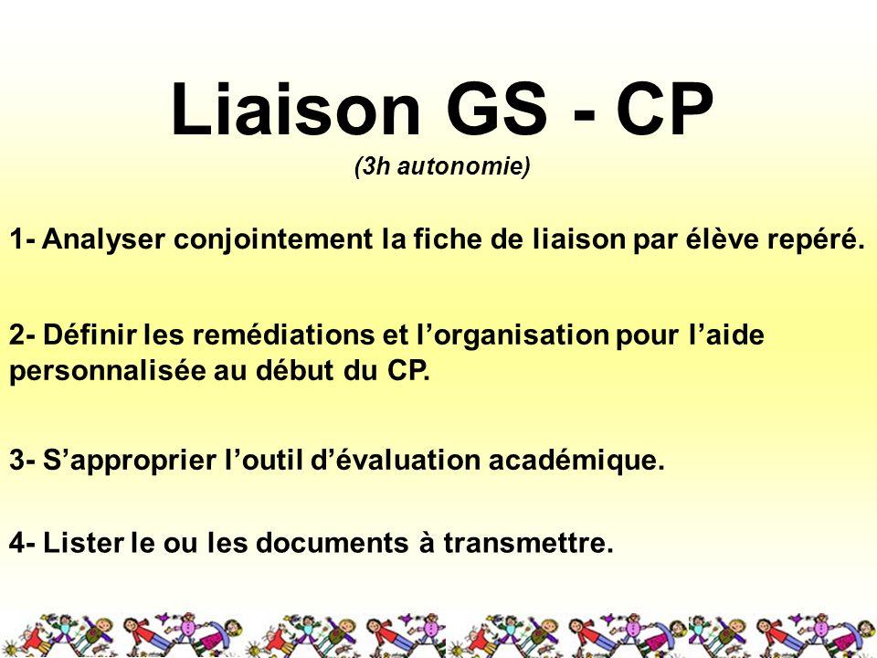 Liaison GS - CP (3h autonomie) 1- Analyser conjointement la fiche de liaison par élève repéré.