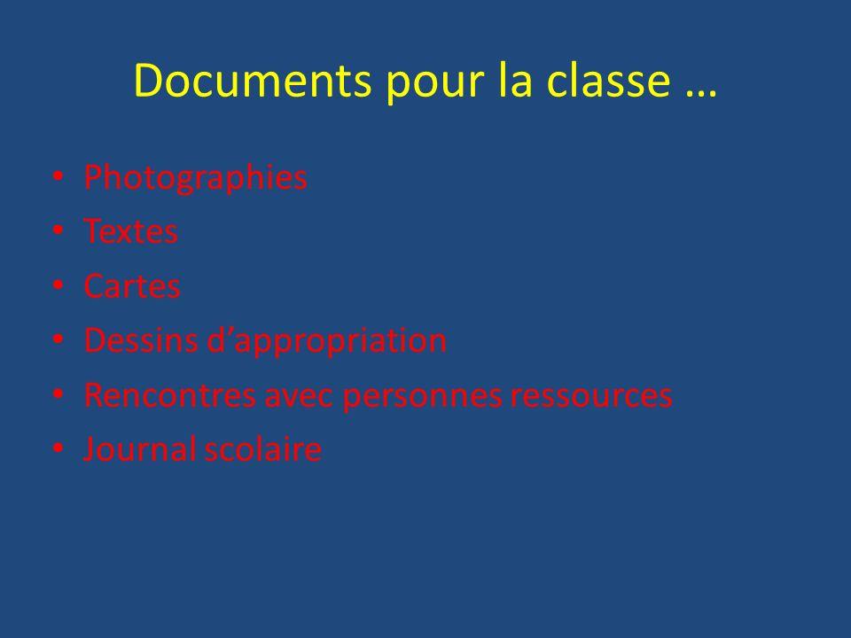 Documents pour la classe …