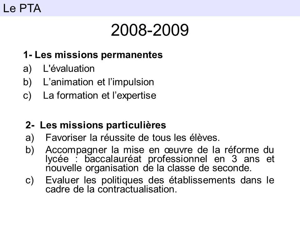 2008-2009 Le PTA 1- Les missions permanentes L évaluation