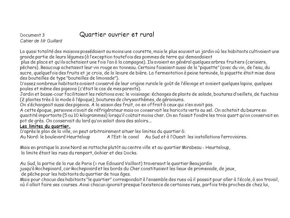 Document 3 Quartier ouvrier et rural Cahier de Mr Guillard
