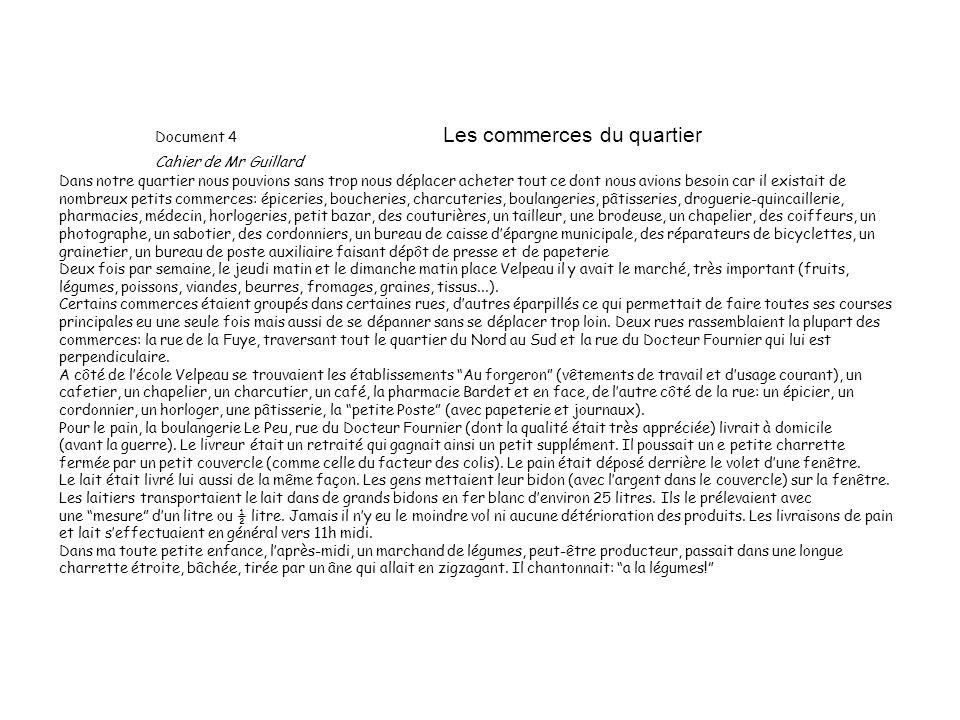 Document 4 Les commerces du quartier Cahier de Mr Guillard
