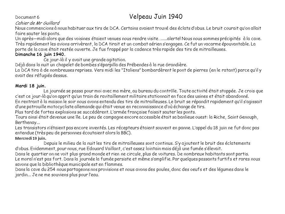 Document 6 Velpeau Juin 1940 Cahier de Mr Guillard