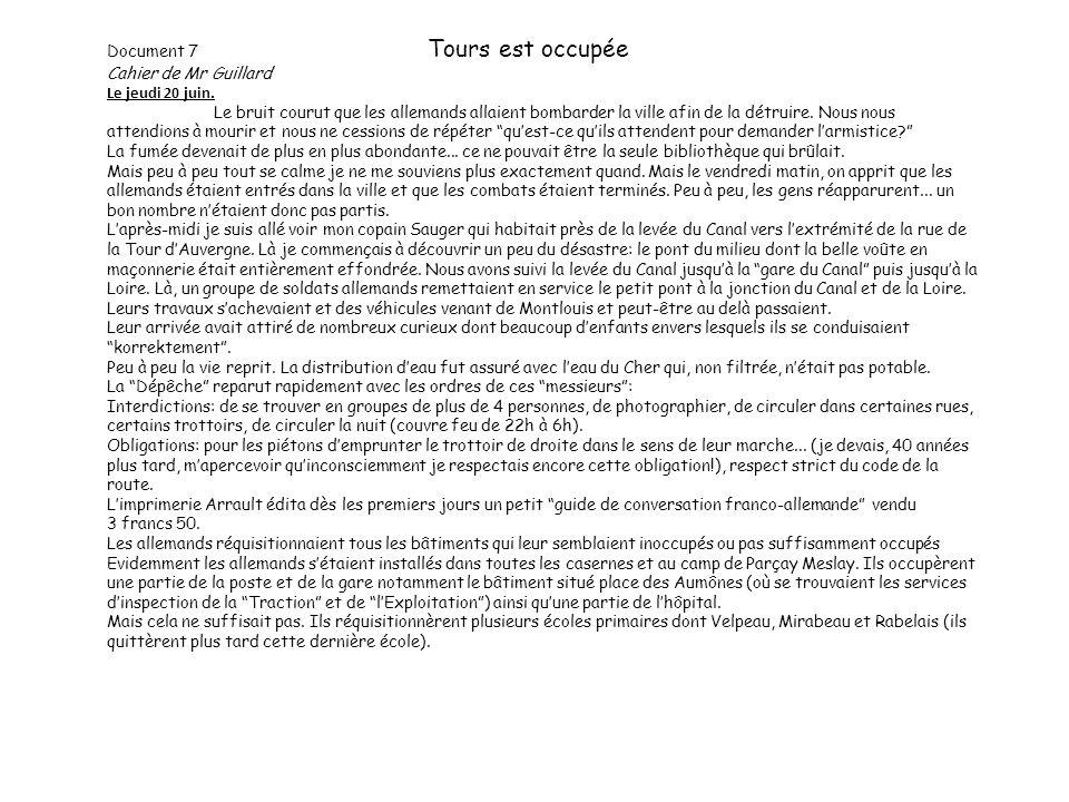Document 7 Tours est occupée Cahier de Mr Guillard