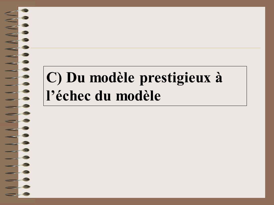 C) Du modèle prestigieux à l'échec du modèle