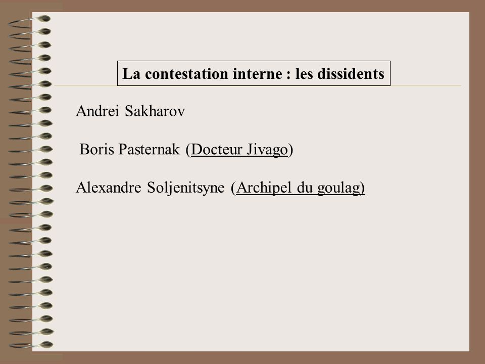 La contestation interne : les dissidents