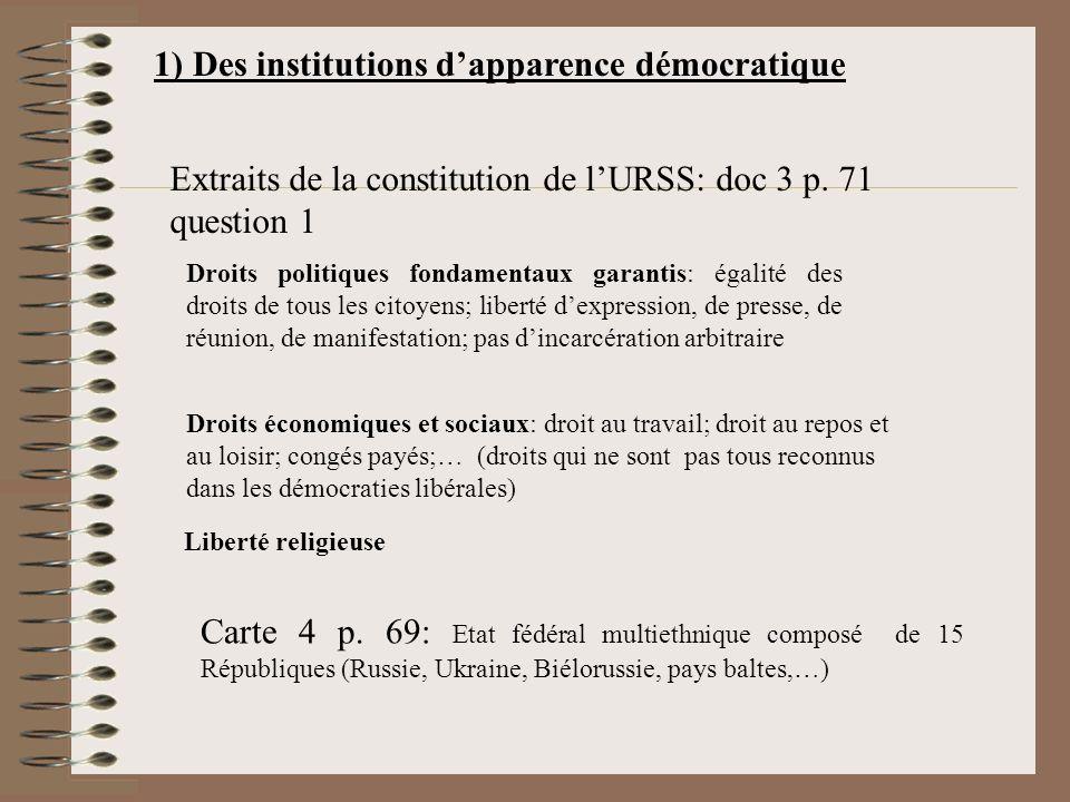 1) Des institutions d'apparence démocratique
