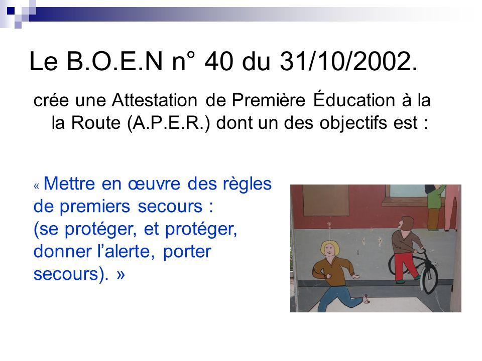 Le B.O.E.N n° 40 du 31/10/2002. crée une Attestation de Première Éducation à la la Route (A.P.E.R.) dont un des objectifs est :