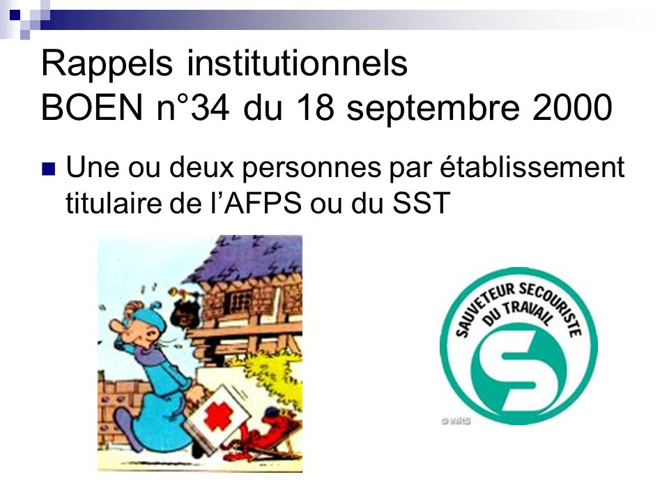 Rappels institutionnels BOEN n°34 du 18 septembre 2000