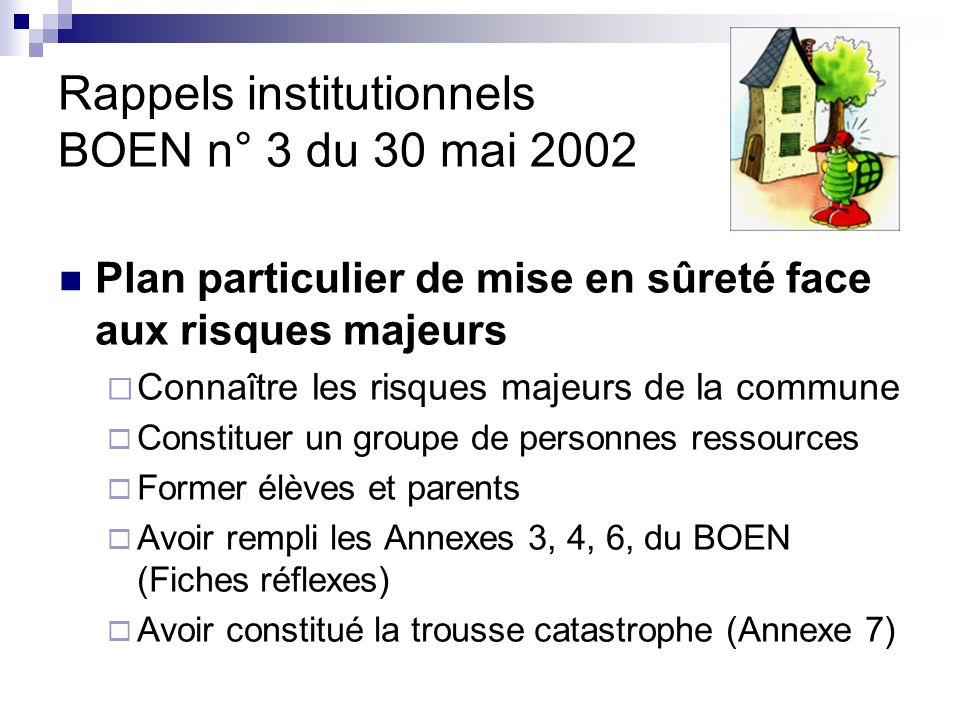 Rappels institutionnels BOEN n° 3 du 30 mai 2002