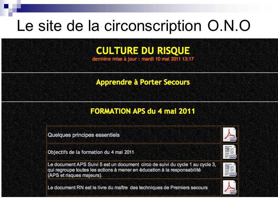 Le site de la circonscription O.N.O