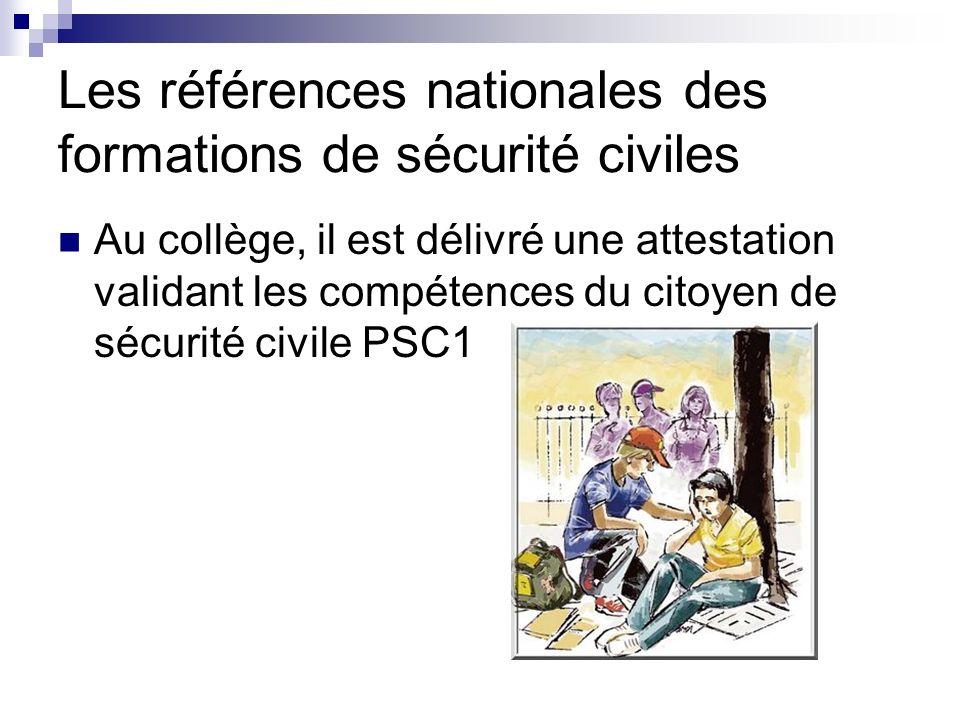 Les références nationales des formations de sécurité civiles
