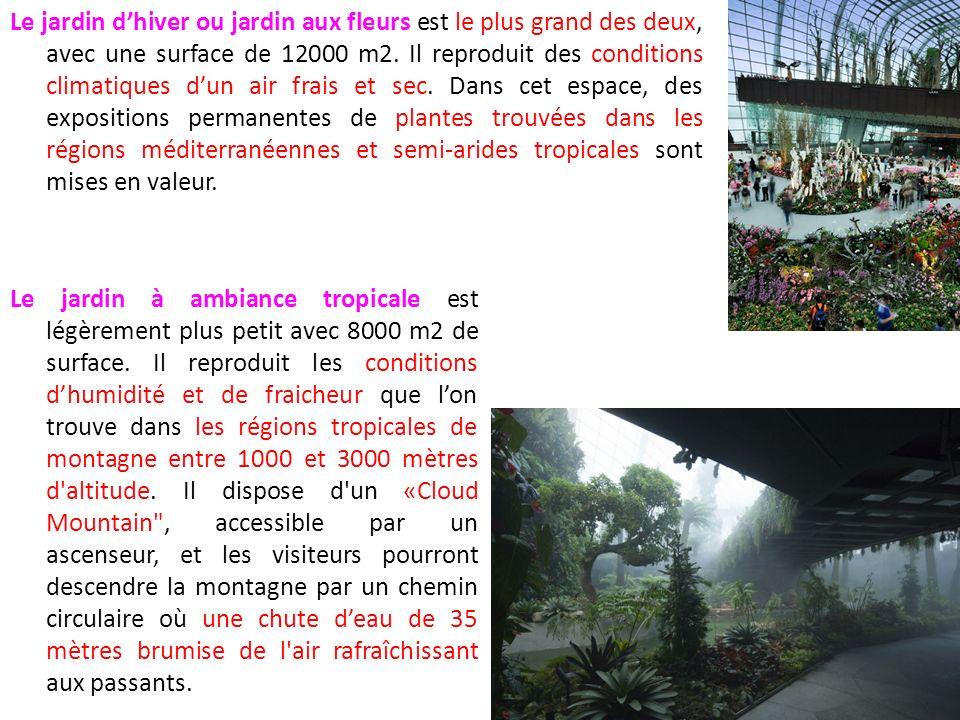 Le jardin d'hiver ou jardin aux fleurs est le plus grand des deux, avec une surface de 12000 m2. Il reproduit des conditions climatiques d'un air frais et sec. Dans cet espace, des expositions permanentes de plantes trouvées dans les régions méditerranéennes et semi-arides tropicales sont mises en valeur.