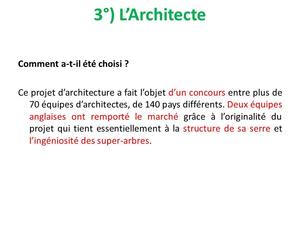 3°) L'Architecte Comment a-t-il été choisi