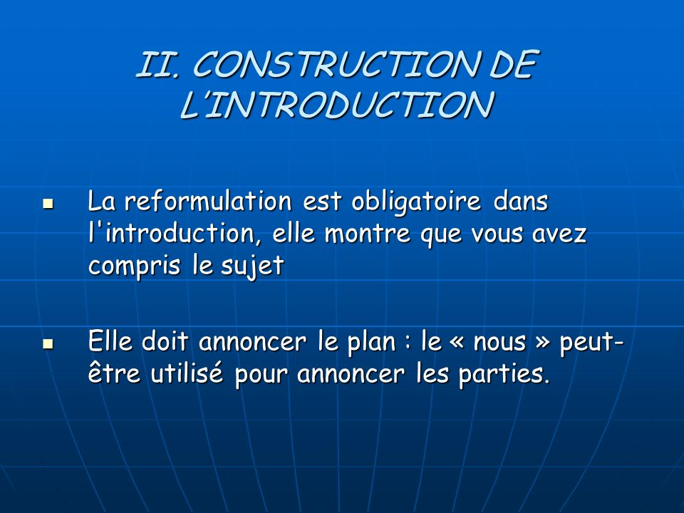 II. CONSTRUCTION DE L'INTRODUCTION
