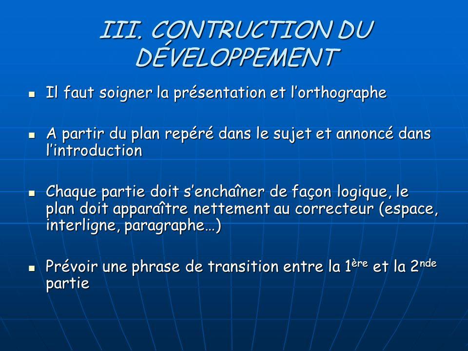 III. CONTRUCTION DU DÉVELOPPEMENT