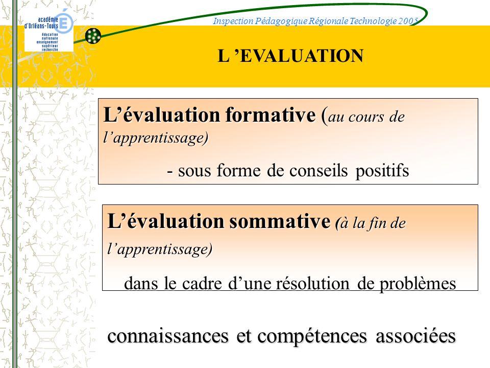 L'évaluation formative (au cours de l'apprentissage)