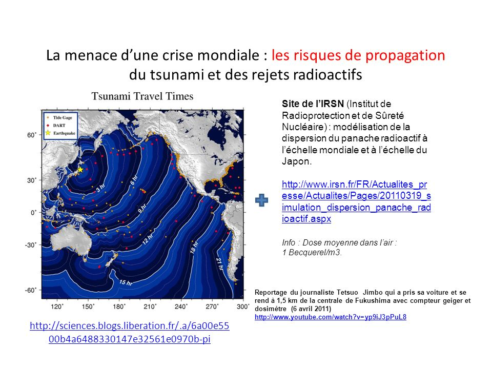 La menace d'une crise mondiale : les risques de propagation du tsunami et des rejets radioactifs