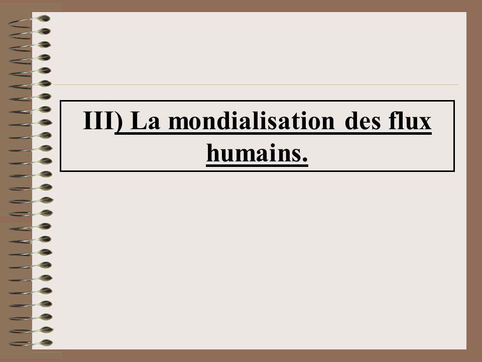 III) La mondialisation des flux humains.