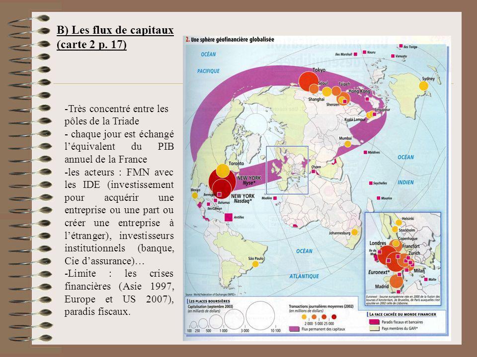B) Les flux de capitaux (carte 2 p. 17)