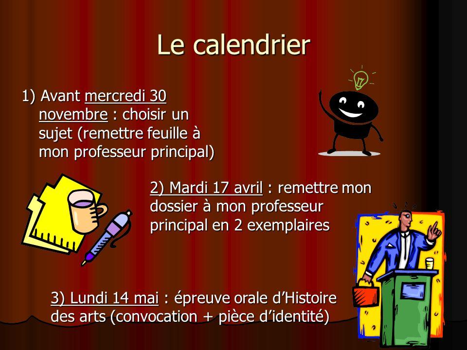 Le calendrier1) Avant mercredi 30 novembre : choisir un sujet (remettre feuille à mon professeur principal)