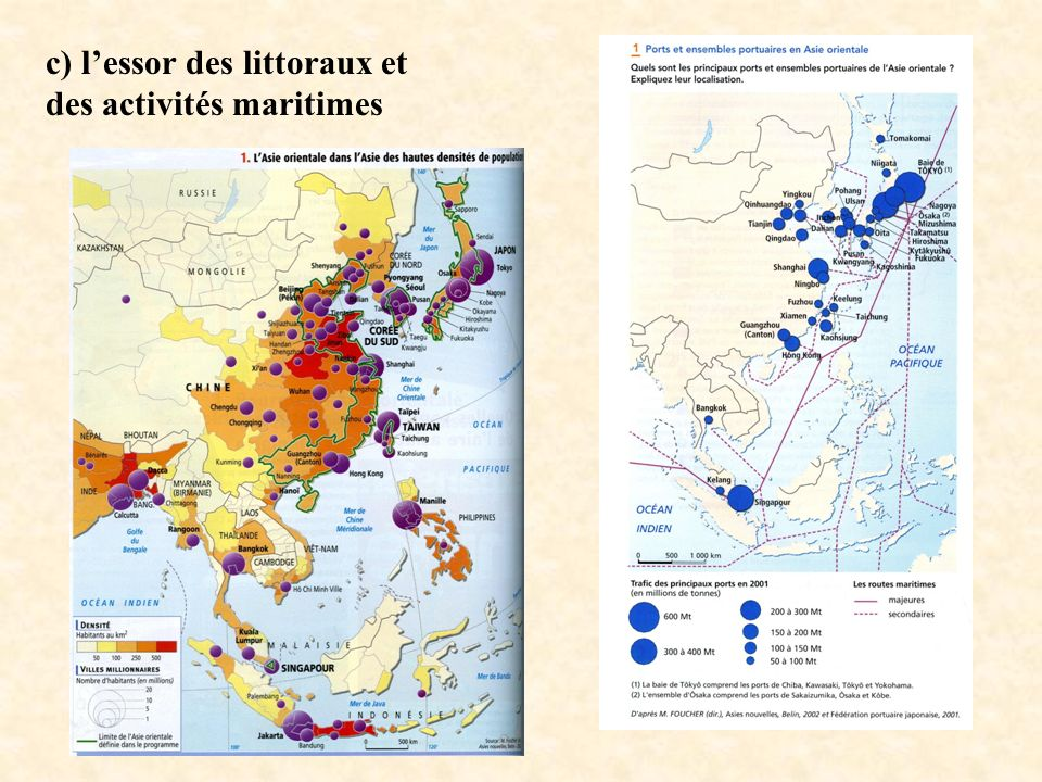 c) l'essor des littoraux et des activités maritimes