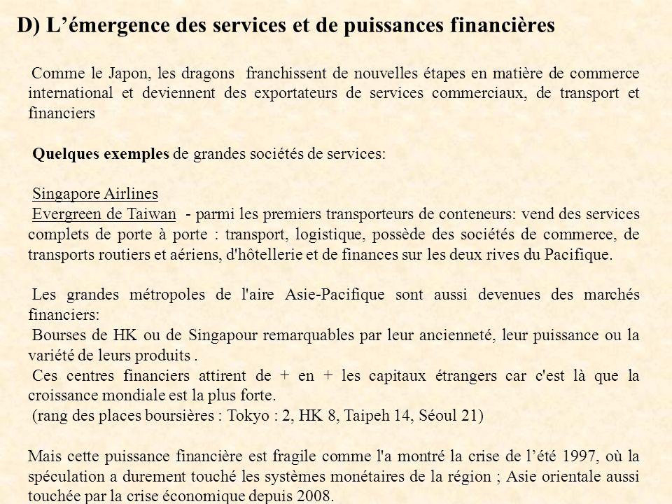 D) L'émergence des services et de puissances financières