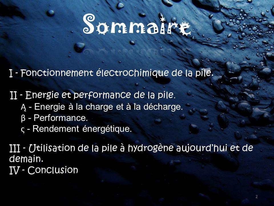 Sommaire II - Energie et performance de la pile.