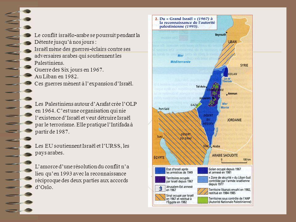 Le conflit israëlo-arabe se poursuit pendant la Détente jusqu'à nos jours :