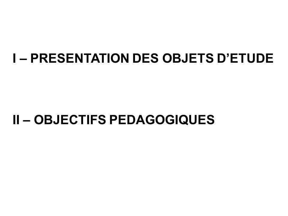 I – PRESENTATION DES OBJETS D'ETUDE