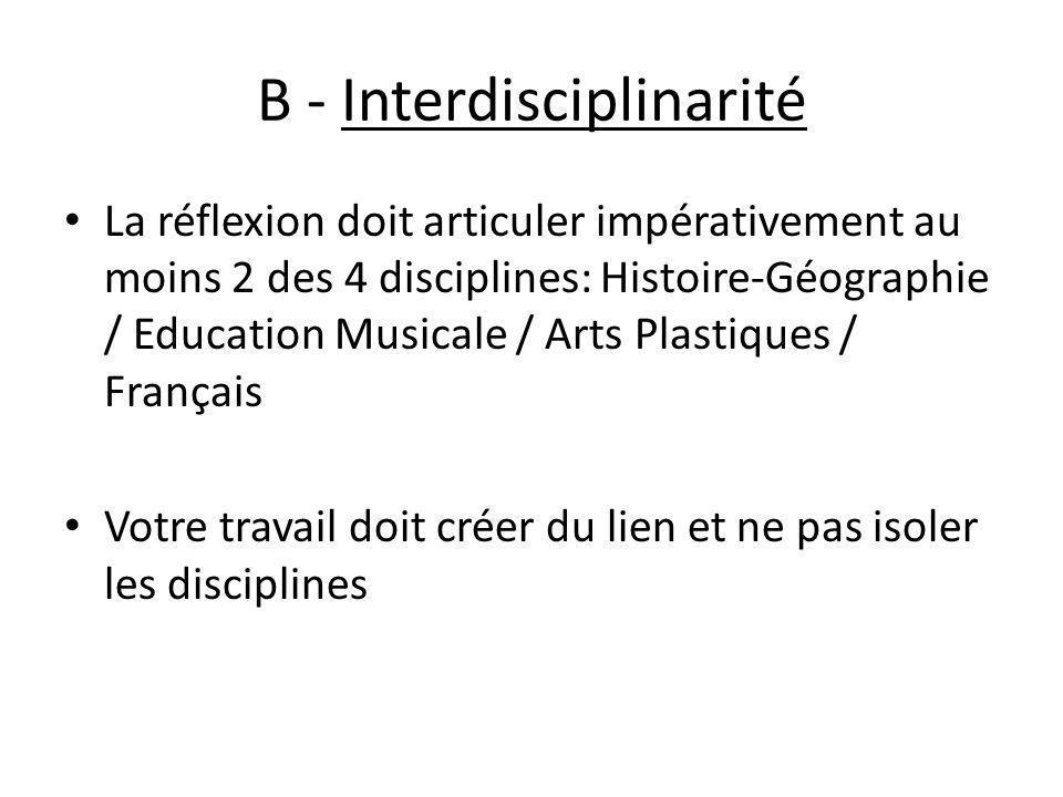B - Interdisciplinarité
