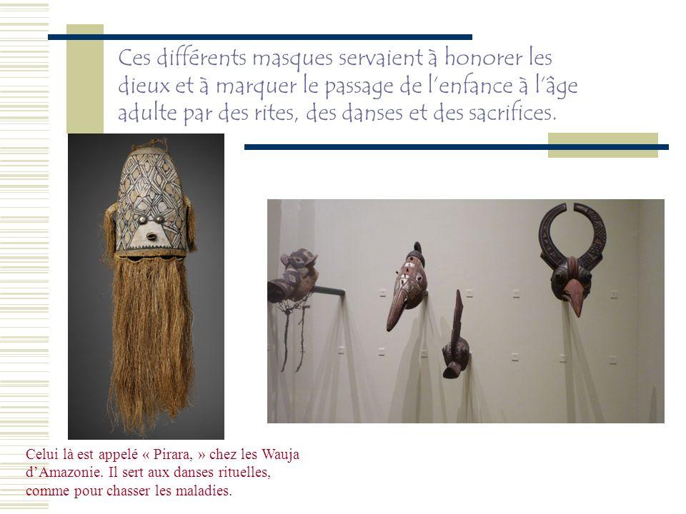 Ces différents masques servaient à honorer les dieux et à marquer le passage de l'enfance à l'âge adulte par des rites, des danses et des sacrifices.